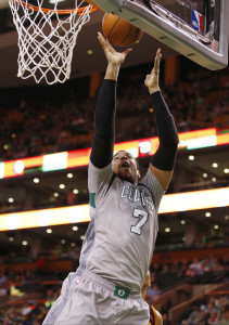 Apr 12, 2015; Boston, MA, USA; Boston Celtics forward Jared Sullinger (7) shoots against the Cleveland Cavaliers in the second half at TD Garden. The Celtics defeated the Cleveland Cavaliers 117-78. Mandatory Credit: David Butler II-USA TODAY Sports