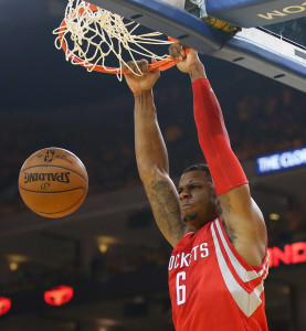 May 21, 2015; Oakland, CA, USA; Houston Rockets forward Terrence Jones (6) dunks to score a basket against the Golden State Warriors during the first half in game two of the Western Conference Finals of the NBA Playoffs. at Oracle Arena. Mandatory Credit: Kelley L Cox-USA TODAY Sports