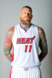 Sep 28, 2015; Miami, FL, USA; Miami Heat forward Chris Andersen (11) poses during photo day at American Airlines Arena. Mandatory Credit: Steve Mitchell-USA TODAY Sports