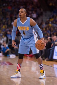 November 6, 2015; Oakland, CA, USA; Denver Nuggets guard Randy Foye (4) dribbles the basketball during the first quarter against the Golden State Warriors at Oracle Arena. The Warriors defeated the Nuggets 119-104. Mandatory Credit: Kyle Terada-USA TODAY Sports